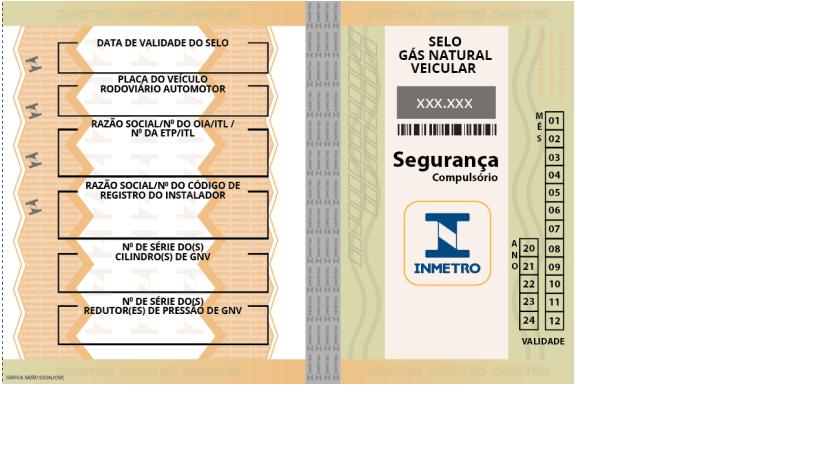 A imagem é demonstrada o Selo do Gás Natural Veicular (GNV), em anexo da Portaria Inmetro nº 465/2019.