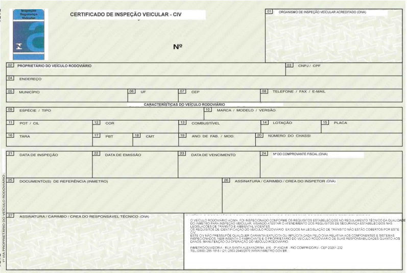 Ilustração representativa para o certificado de inspeção veicular CIV, presente no anexo A da Portaria Inmetro nº 457/2008.