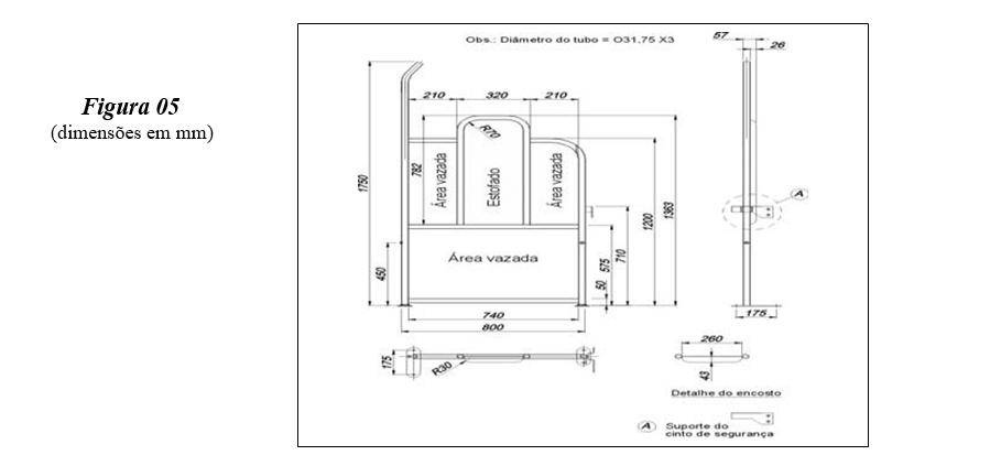 Imagem ilustrativa da instalação de guarda-corpo na área reservada e as dimensões em mm, no item 6.3.5.5.