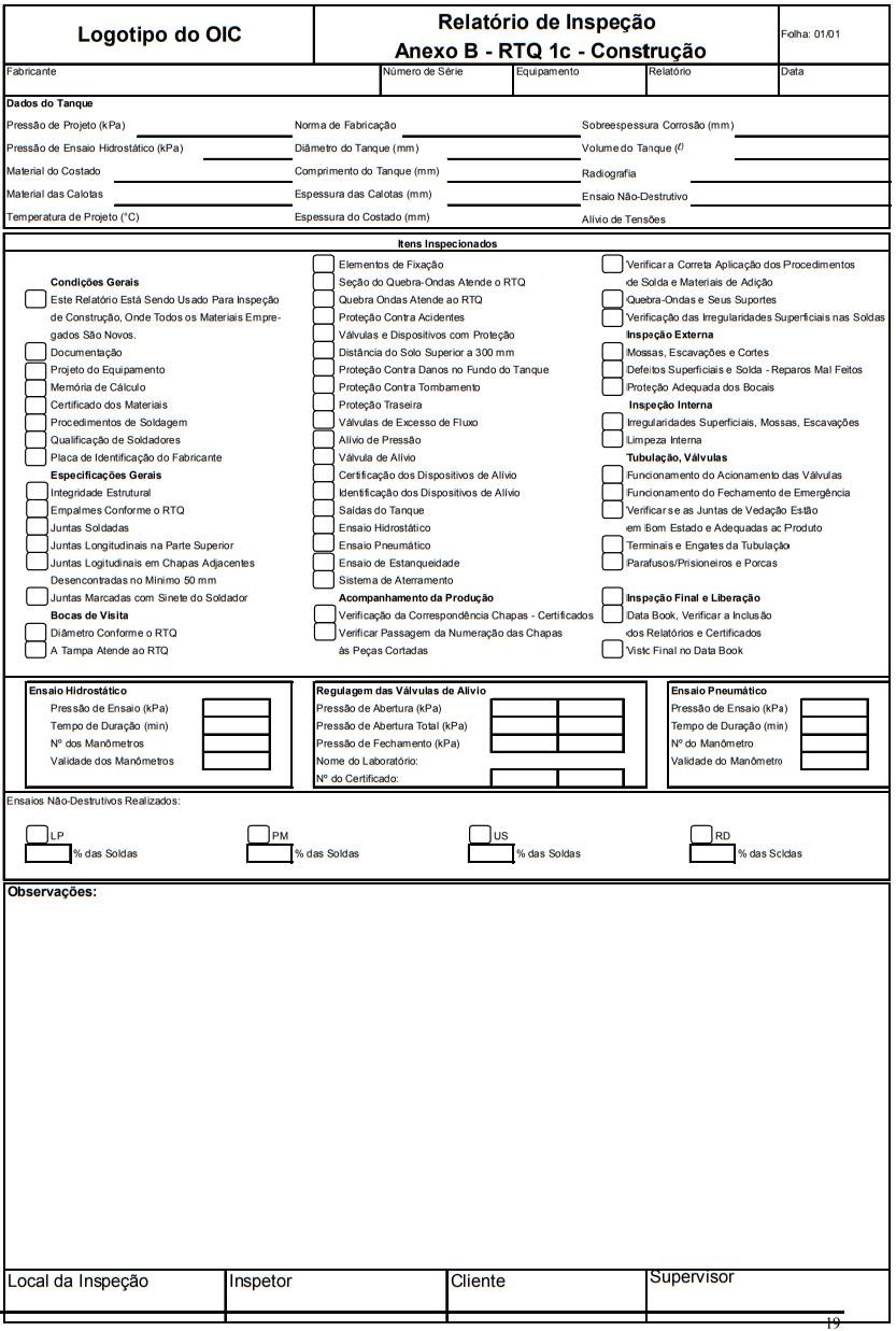 Relatório de Inspeção Anexo B - RTQ 1c - Construção