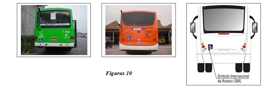 Representação da posição do SIA,  que deverá ser localizado e identificado pelos motoristas que dirigem atrás do veículo, como nos momentos de embarque e desembarque.
