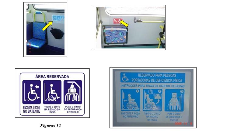 Ilustração referente aos adesivos específicos que devem ser instalados na área reservada, que deve ser afixado outro adesivo com símbolos específicos orientando o usuário em cadeira de rodas sobre a forma de fixação da cadeira e do cinto de segurança.