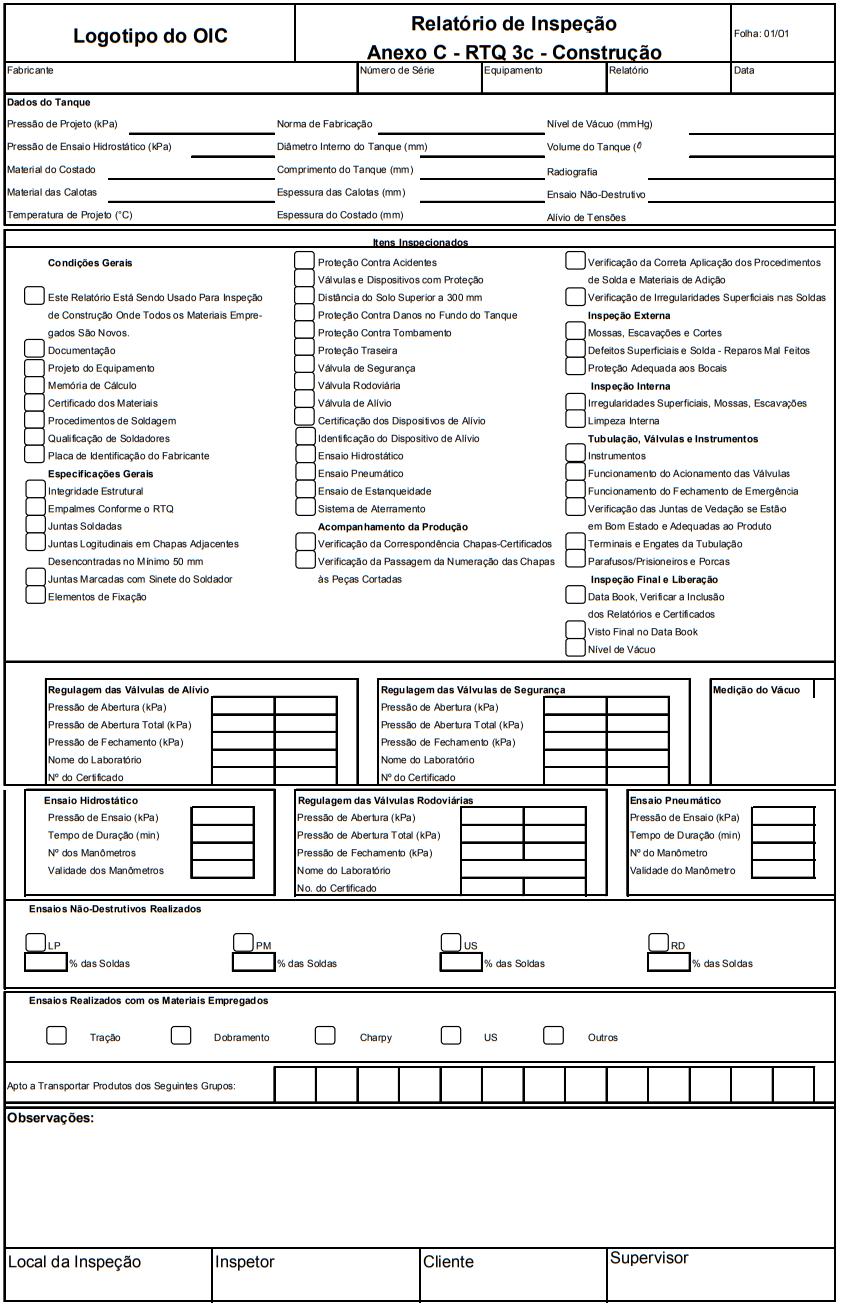 Relatório de Inspeção AnexoC - RTQ 3c - Construção