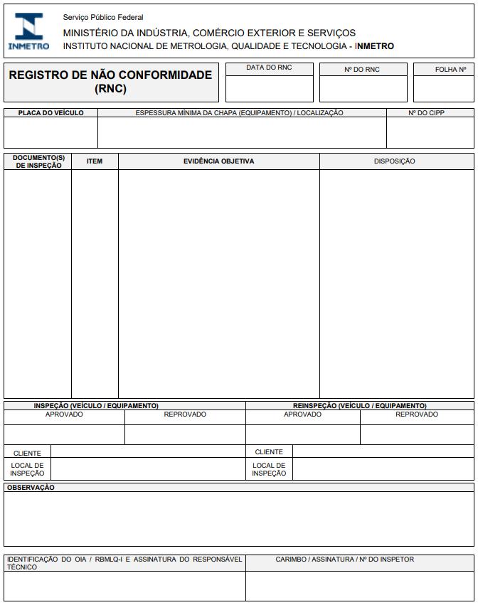 Exemplifica-se o documento de registro de Não Conformidade (RNC), do Instituto Nacional de Metrologia, Qualidade e Tecnologia (Inmetro), presente na  Portaria Inmetro nº 247/2016.