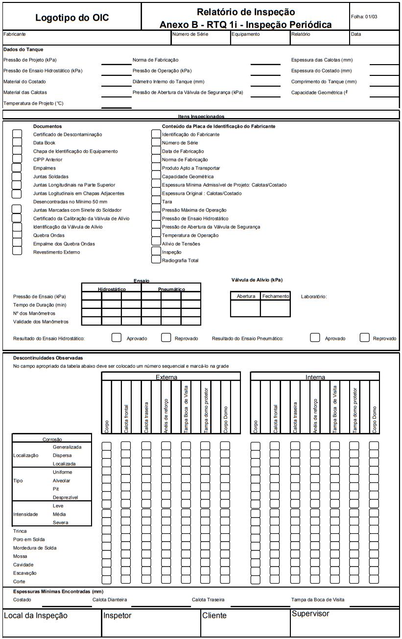 Relatório de Inspeção Anexo B - RTQ 1i - Inspeção  Periódica