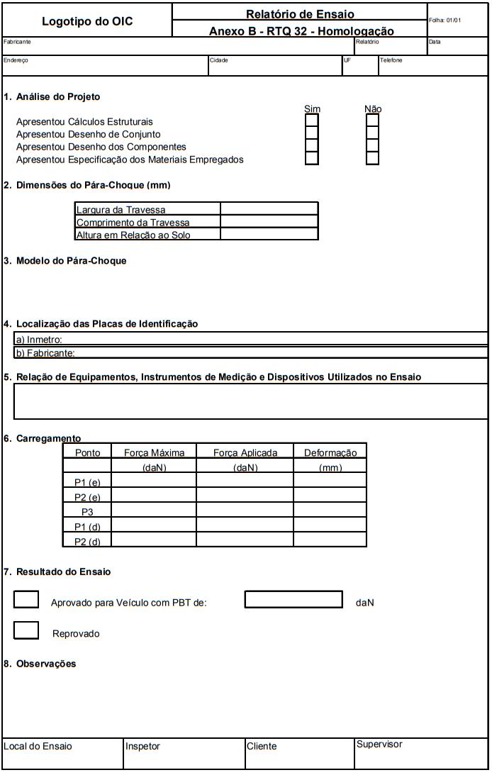 Relatório de Ensaio Anexo B - RTQ 32 - Homologação