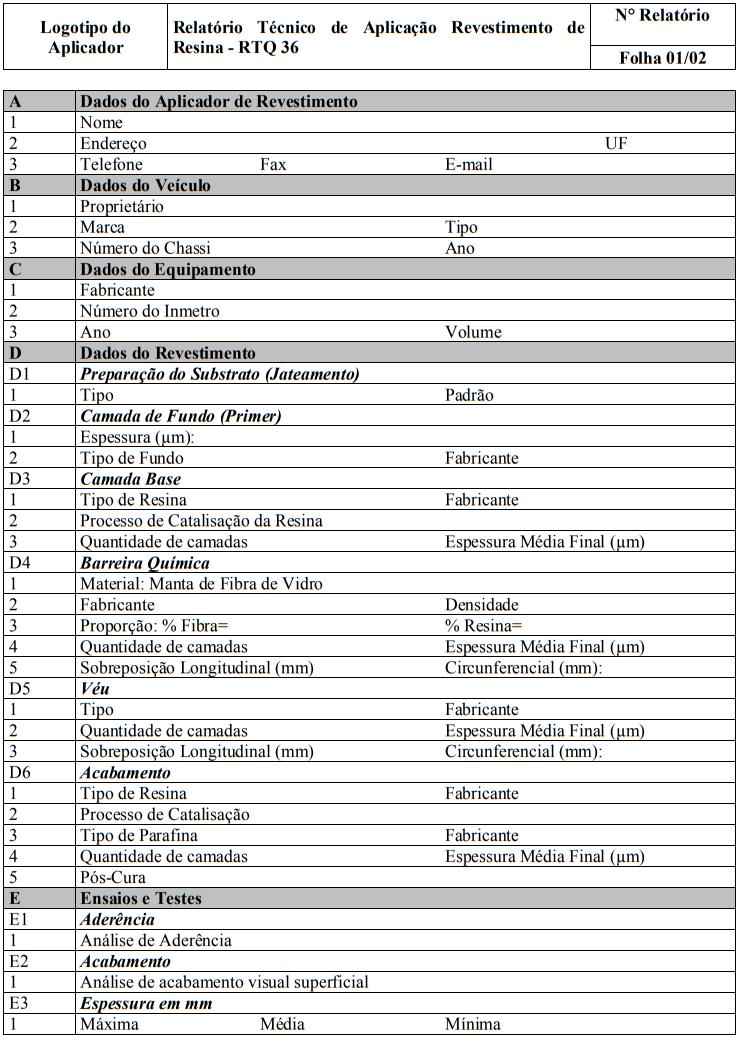 Relatório Técnico de Aplicação revestimento de Resina - RTQ 36 - Página 1